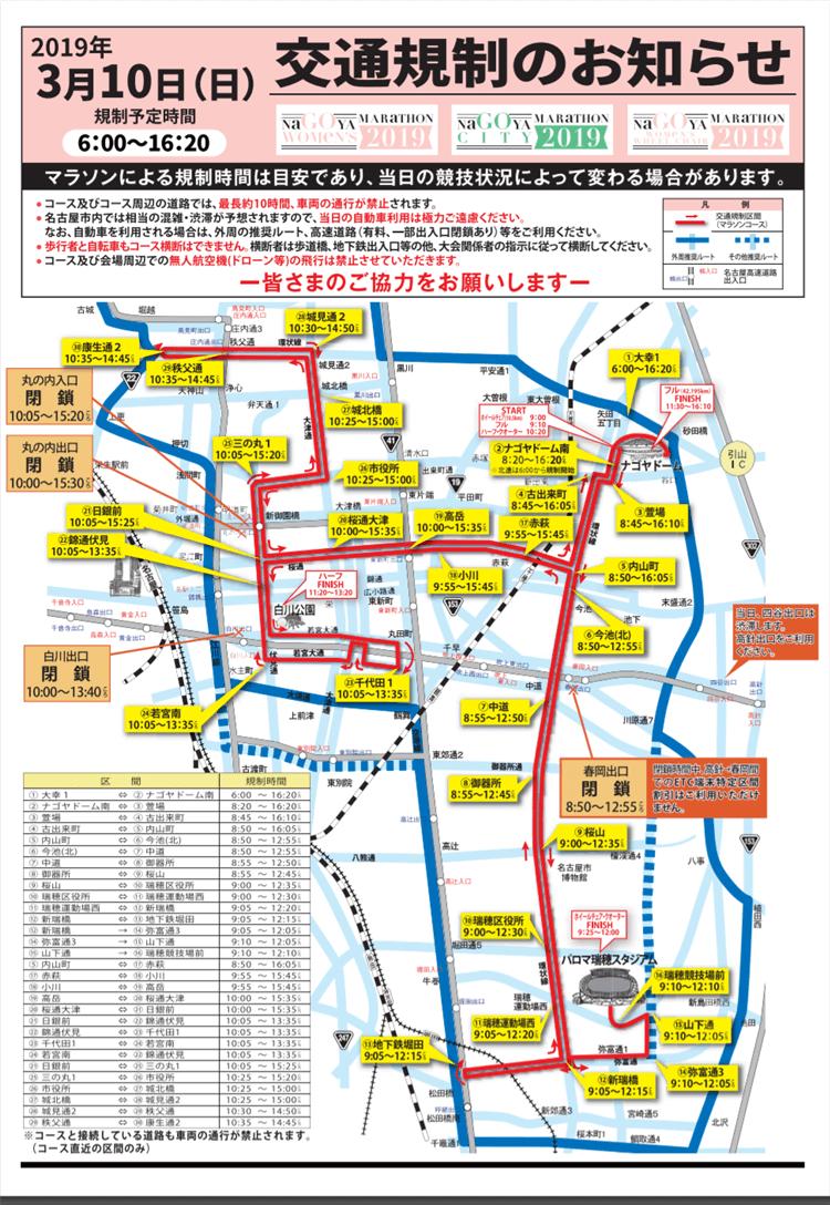 名古屋ウィメンズマラソンの交通規制マップ