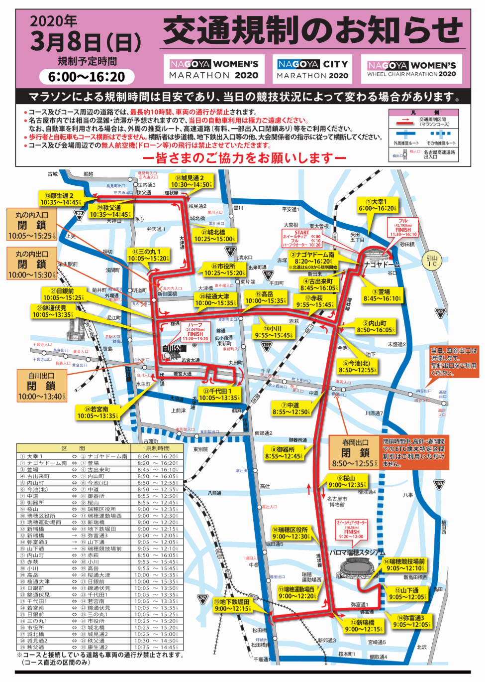 名古屋ウィメンズマラソン2020の交通規制マップ(地図)
