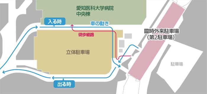 愛知医大の駐車場マップ