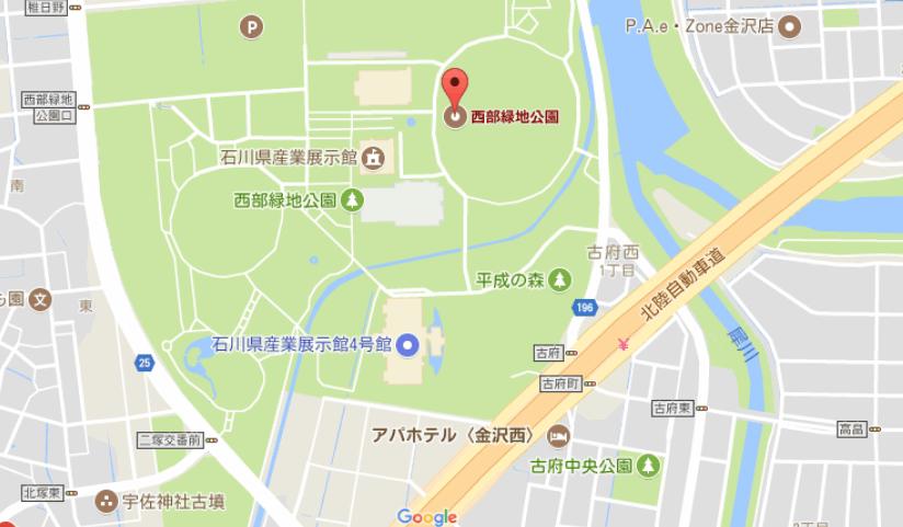金沢産業会館の駐車場周辺の地図