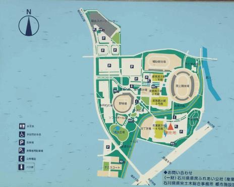 金沢産業会館西部緑地公園の駐車場へのアクセス