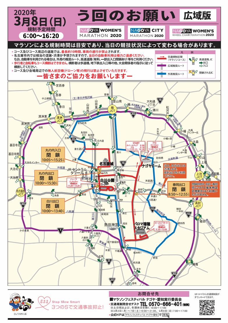 名古屋マラソンフェスティバル2020の交通規制の迂回路