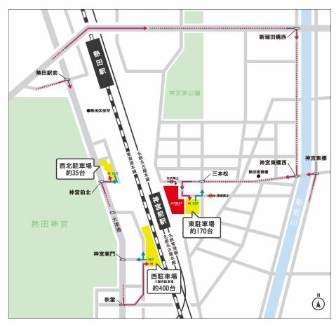ミュープラット神宮前の駐車場の場所